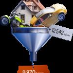 olika lån som trycks ner i en tratt och ut kommer en lägre kostnad