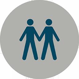 illustration där två streckgubbar håller varandra i handen